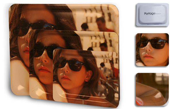 Conjunto de bandejas personalizadas  de la marca Portage con un efecto pictórico que simula la obra del pintor Sorolla