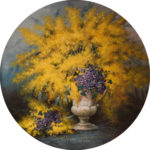 Bajoplato mimosas al oleo de 36 cm. de diametro, fabricado en melamina y resistente al lavado en lavavajillas